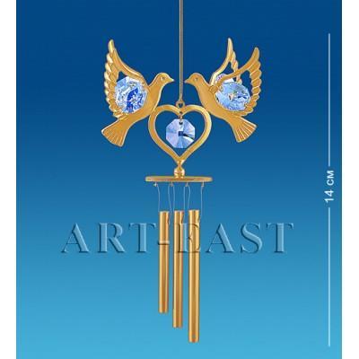 """Поющий ветерок """"Сердечко с голубями"""" 6,5x4x14 см., Crystal Temptations, США"""