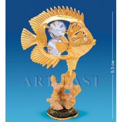 "Фигурка на кораллах ""Рыбка-Дискус"" 6,5x4,5x9,5 см., Crystal Temptations, США"