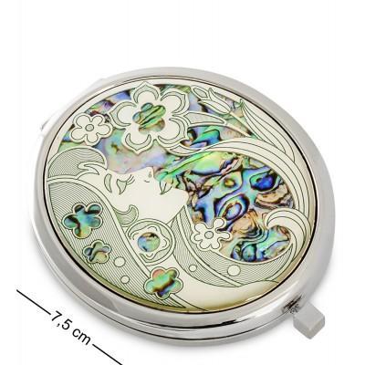 Карманное зеркальце серебр. 7,5x6x1 см., Гонконг