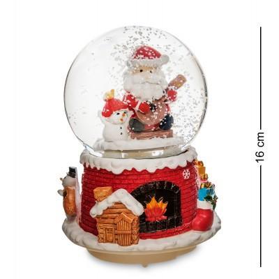 "Шар со снегом муз. с подсветкой ""Привет от Санты"", 16 см., PM-55"