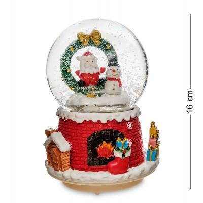 "Шар со снегом муз. с подсветкой ""Привет от Санты"", 16 см., PM-56"