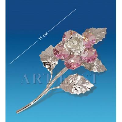 """Фигурка посереб. """"Цветок"""" 5x4x11 см., с цвет. крист. Crystal Temptations, США"""
