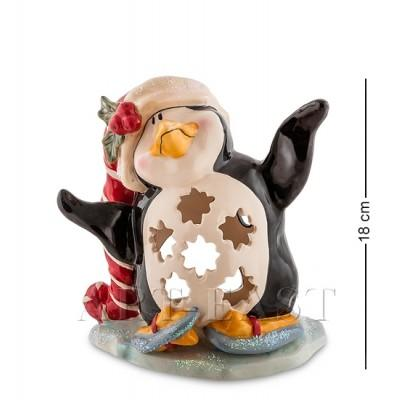"""Статуэтка-подсвечник """"Пингвин в танце на льду"""" 17x13x18 см., Blue Sky, Италия"""
