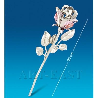 """Фигурка """"Цветок"""" 6,5x4x20 см., посеребр. с цвет. крист. Crystal Temptations, США"""