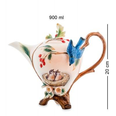 """Заварочный чайник """"Голубые птицы"""" 900 мл., фарфор Pavone, Италия"""