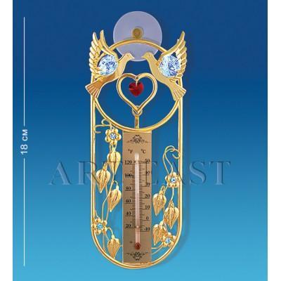"Термометр на липучке ""Голуби"" 16,5x6,5x3,5 см., с цвет. крист. Crystal Temptations, США"
