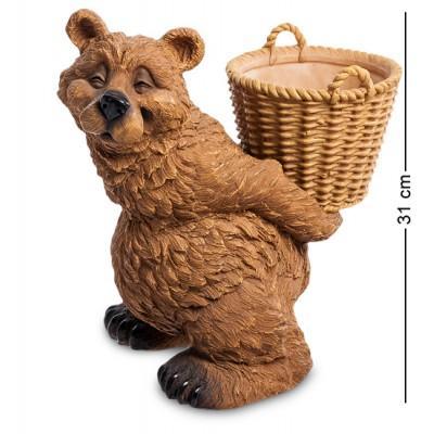 "Статуэтка-кашпо ""Медведь с корзиной"" 29x20,5x31 см., полистоун Sealmark, США"