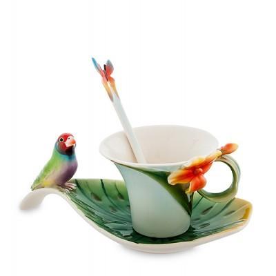 "Чайная пара ""Попугай"" 110 мл., 3 пр., фарфор Pavone, Италия"