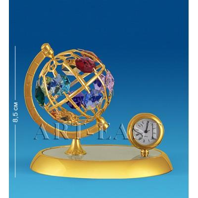 "Фигурка с часами ""Глобус"" 10x7x8,5 см., с цвет. крист. Crystal Temptations, США"