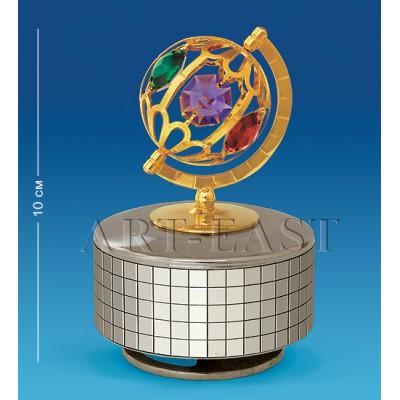 """Фигурка музыкальная """"Глобус"""" 6,5x6,5x10 см., с цвет. крист. Crystal Temptations, США"""