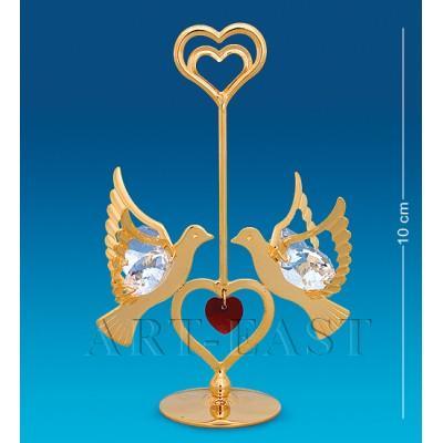 """Фигурка-подставка """"Сердечко с голубями"""" 10 см., Crystal Temptations, США"""