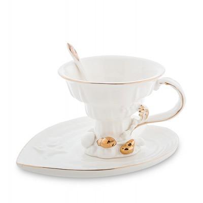 """Чайный набор """"Морская ракушка"""" 150 мл., 3 пр., фарфор Pavone, Италия"""