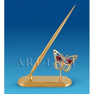"""Письменный прибор """"Бабочка"""" 13x5x21,5 см., с цвет. крист. Crystal Temptations, США"""