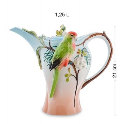 """Заварочный чайник """"Попугай Розелла"""" 1.25 л., фарфор Pavone, Италия"""