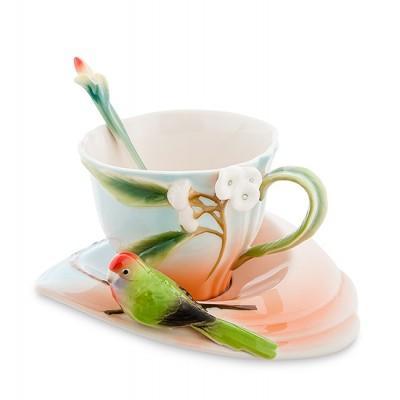 """Чашка с блюдцем """"Попугай Розелла"""" 200 мл., 3 пр., фарфор Pavone, Италия"""