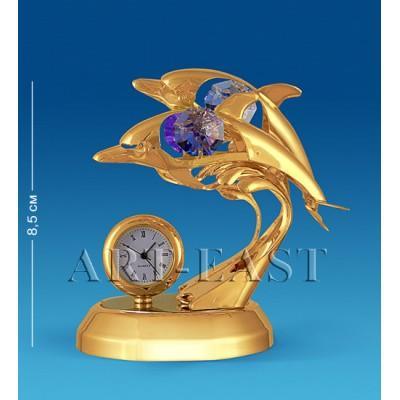 """Фигурка с часами """"Дельфины"""" 8,5x6x8,5 см., с цвет. крист. Crystal Temptations, США"""