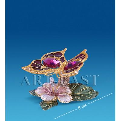 """Композиция """"Бабочка на цветке"""" 8 см., с цвет. крист. Crystal Temptations, США"""