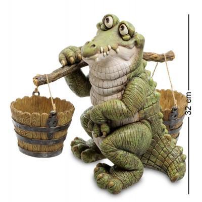 "Статуэтка-кашпо ""Крокодил с коромыслом"" 25,5x39x32 см., полистоун Sealmark, США"
