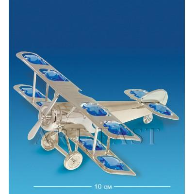 "Фигурка ""Самолет"" 10x11x5 см., сереб. с цвет. крист. Crystal Temptations, США"