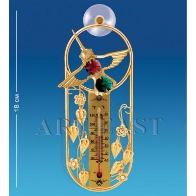 "Термометр на липучке ""Колибри"" 16,5x7x2,5 см., с цвет. крист. Crystal Temptations, США"