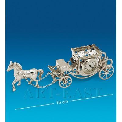 "Фигурка с часами ""Карета с лошадью"" 16x3,5x5 см., посеребр. Crystal Temptations, США"