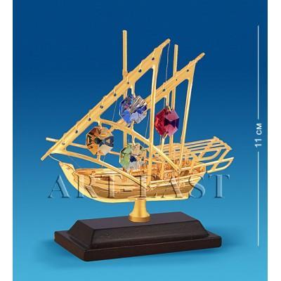 "Фигурка ""Яхта на подставке"" 10x3,5x11 см., с цвет. крист. Crystal Temptations, США"