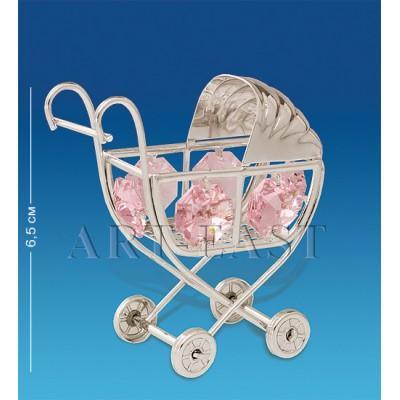 """Фигурка """"Детская коляска"""" 6,5 см., сереб. с цвет. крист. Crystal Temptations, США"""