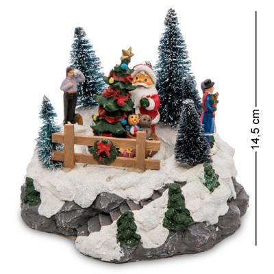 Музыкальная новогодняя миниатюра с подсветкой, 18х18х14,5 см