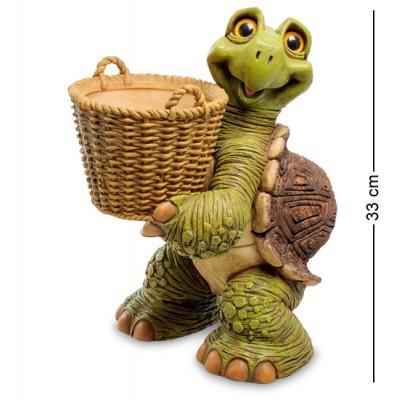 "Статуэтка-кашпо ""Черепаха с корзиной"" 30x23x24 см., полистоун Sealmark, США"