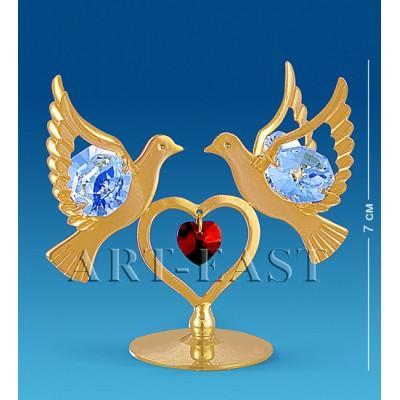 "Фигурка ""Сердечко с голубями"" 7x4x7 см., с цвет. крист. Crystal Temptations, США"