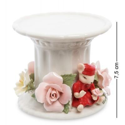 """Статуэтка-подсвечник """"Мышка с цветами"""", 7.5 см., фарфор Pavone, Италия"""
