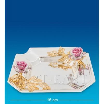 """Пепельница """"Розы"""" 16x16x5 см., посеребр. с цвет. крист. Crystal Temptations, США"""