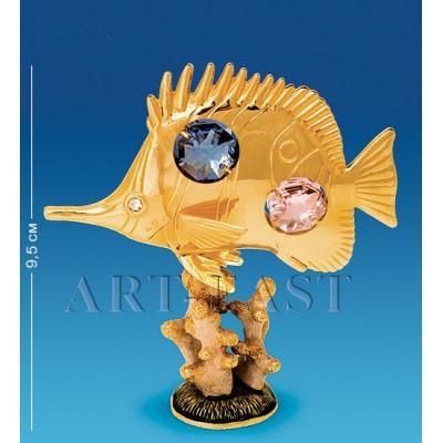 "Фигурка на кораллах ""Рыбка-Барбус"" 9x3x9,5 см., с цвет. крист. Crystal Temptations, США"