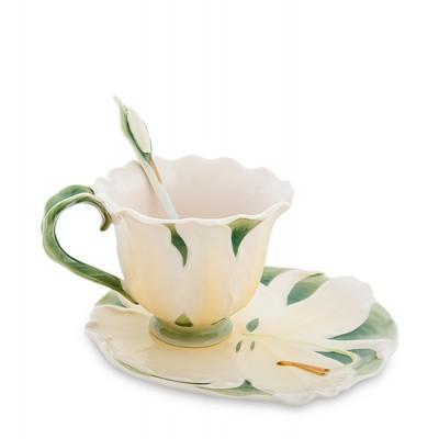 "Чашка с блюдцем ""Лилия"" 160 мл., 3 пр., фарфор Pavone, Италия"