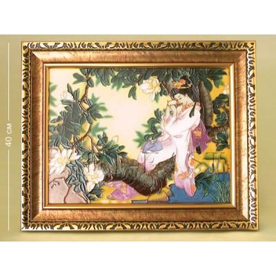 """Картина """"Гейша"""" 40 см., фарфор Pavone, Италия"""