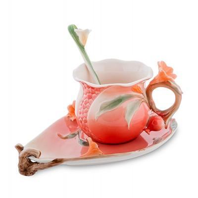 """Чашка с блюдцем """"Цветущий гранат"""" 170 мл., 3 пр., фарфор Pavone, Италия"""