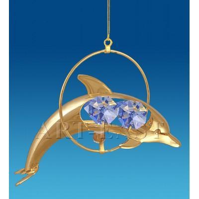 """Фигурка подвесная """"Дельфин"""" 10x6x12 см., Crystal Temptations, США"""