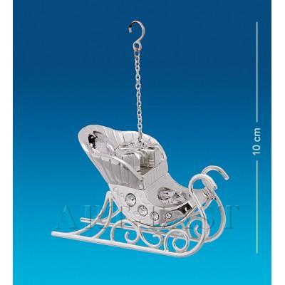 """Фигурка """"Сани"""" 7,5x3x5 см., посеребр. с цвет. крист. Crystal Temptations, США"""