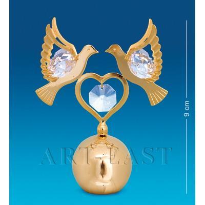 "Фигурка на шаре ""Сердечко с голубями"" 9 см., Crystal Temptations, США"