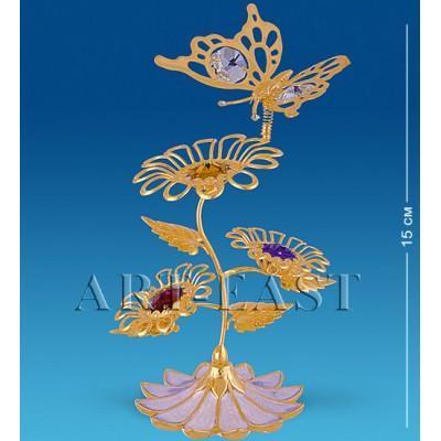 "Фигурка-композиция ""Бабочка на трех цветках"" 8x7x15 см., с цвет. крист. Crystal Temptations, США"
