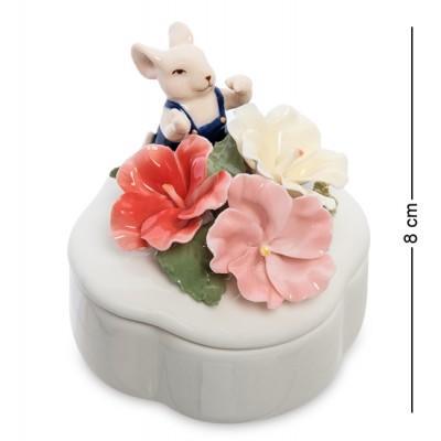 """Статуэтка-шкатулка """"Мышонок с цветами"""", 8 см., фарфор Pavone, Италия"""