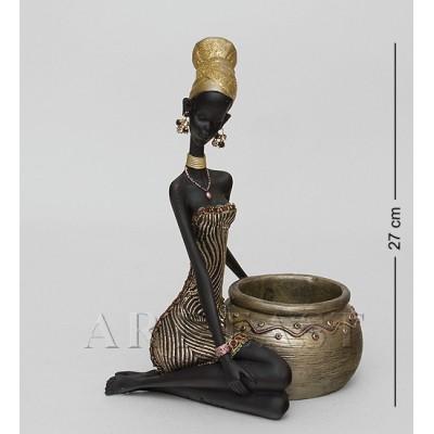 """Статуэтка-подставка под бутылку """"Африканская леди"""" 13x19x27 см., полистоун"""
