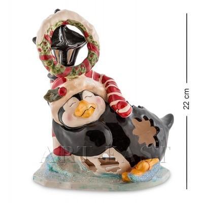 """Статуэтка-подсвечник """"Пингвин в танце на льду"""" 18x15x22 см., Blue Sky, Италия"""