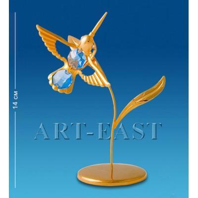 """Фигурка """"Колибри на лепестке"""" 6,5x6,5x14 см., с цвет. крист. Crystal Temptations, США"""