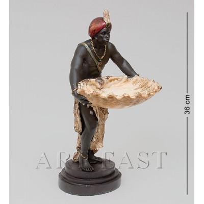 """Статуэтка-подставка """"Слуга с ракушкой"""", 17,5x23x37 см., полистоун Noble Style"""