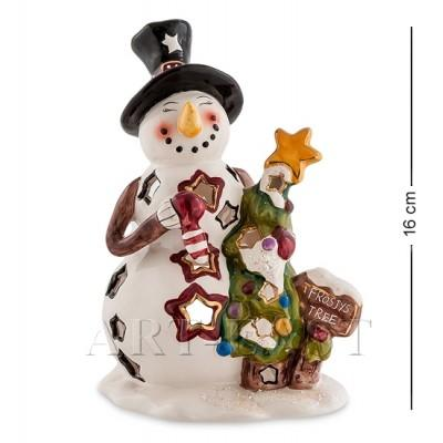 "Подсвечник ""Снеговик с елкой"", 13x10x16 см., фарфор Pavone, Италия"