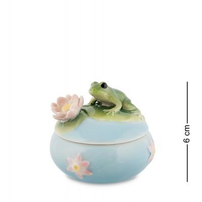 """Шкатулка """"Лягушка на кувшинке"""" 6 см., фарфор Pavone, Италия"""