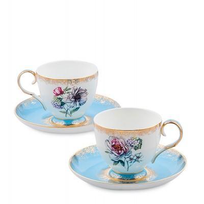 "Чайный набор на 2 перс. ""Цветок Неаполя"" 200 мл., фарфор Pavone, Италия"