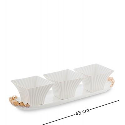 "Набор соусников ""Морская ракушка"" 43x12x9 см., фарфор Pavone, Италия"