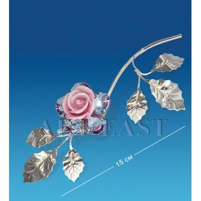 """Фигурка посереб. """"Цветок"""" 6x4x15 см., с цвет. крист. Crystal Temptations, США"""